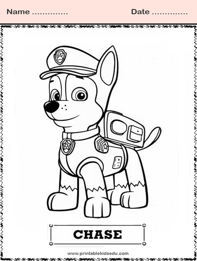 Coloring Paw Patrol Chase