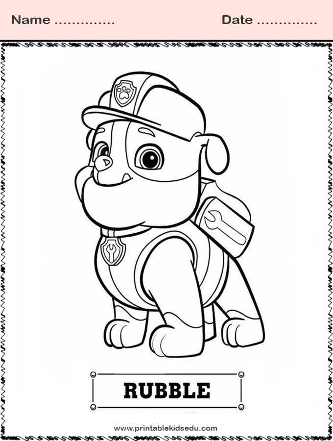 Coloring Paw Patrol Chase Marshall Rubble