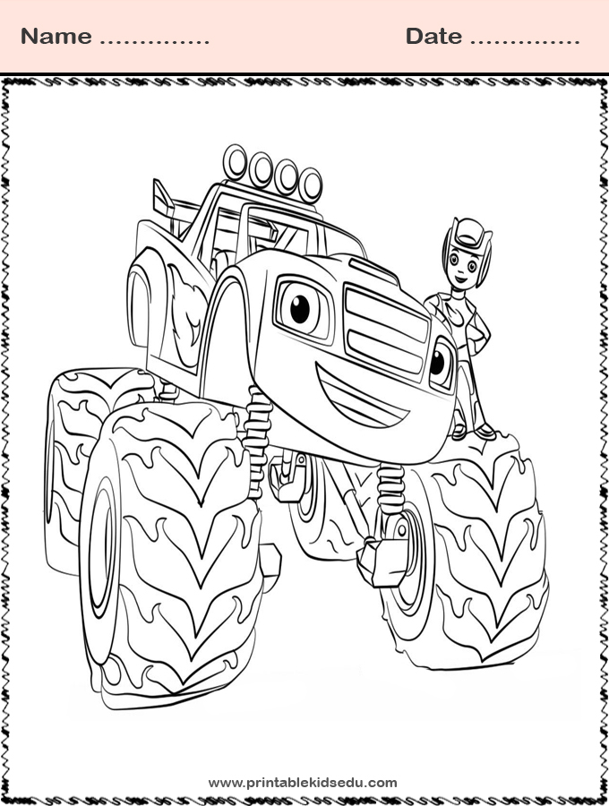 printable blaze and the monster machines coloring
