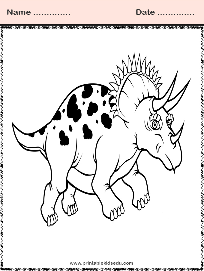 Triceratops Dinosaur Coloring Pages